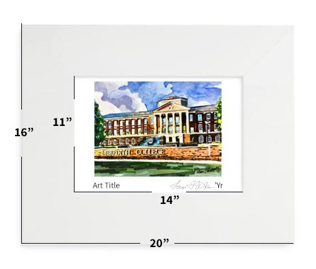 """Raleigh, NC - Meredith College - 16""""x20"""" - Matted Print"""