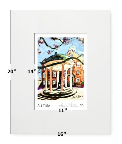 """Chapel Hill, NC - UNC - Old Well - 16""""x20"""" - Matted Print"""