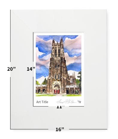 "Durham, NC - Duke University - Duke Chapel - 16""x20"" - Matted Print"
