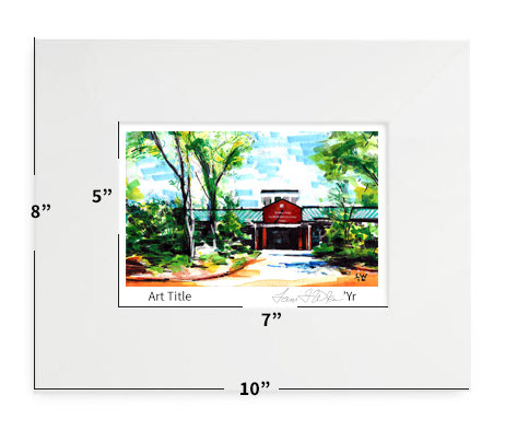 """Cary, NC - Penny Road Elementary - 8""""x10"""" - Matted Print"""