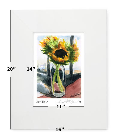 """Flowers - Winter Sunflowers - 16""""x20"""" - Matted Print"""