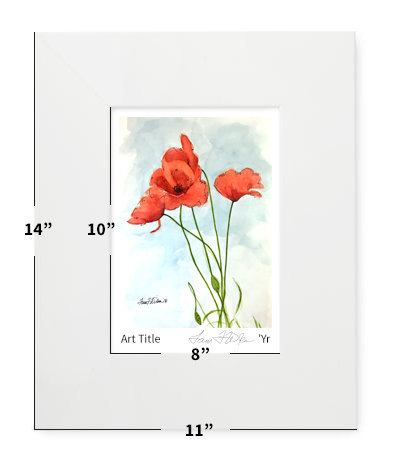 "Flowers - Poppies - 11""x14"" - Matted Print"