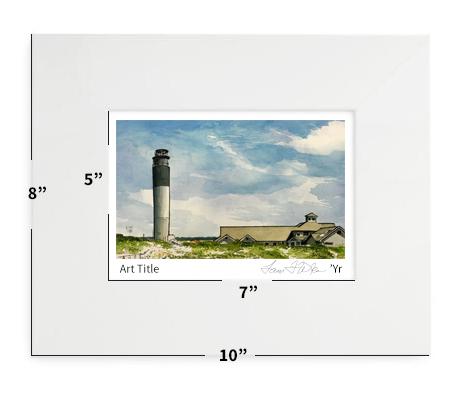 "Oak Island, NC - Oak Island Lighthouse - 8""x10"" - Matted Print"