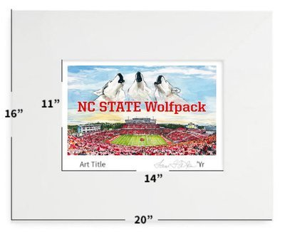Raleigh, NC - NC State - Carter-Finley Stadium - Matted Print - 16