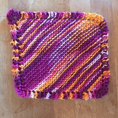 100% Cotton Deep Pink & Orange Washcloth - Hand Knit Classic Design