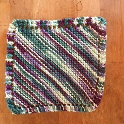 100% Cotton Blues & Purples Washcloth - Hand Knit Classic Design