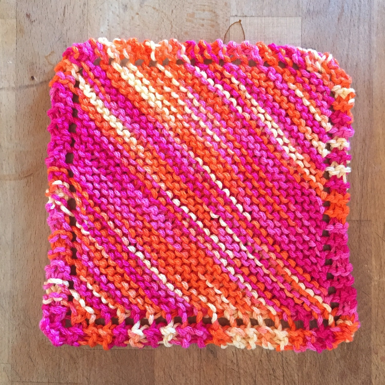 100% Cotton Bright Pink Orange Yellow Washcloth - Hand Knit Classic Design