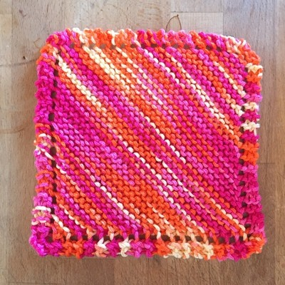 100% Cotton Bright Pink Orange Yellow Washcloth - Hand Knit Classic Design