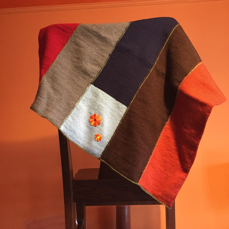 Modern Baby Blanket - Earthy Colors& Orange Flowers
