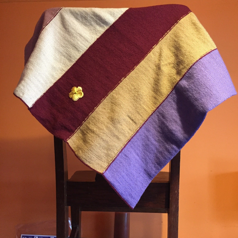 Modern Baby Blanket - Warm Colors & Golden Flower