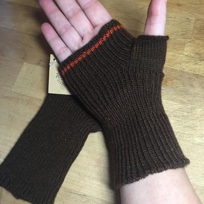 Lightweight Fingerless Mitts - Brown with Orange Stripe - medium length