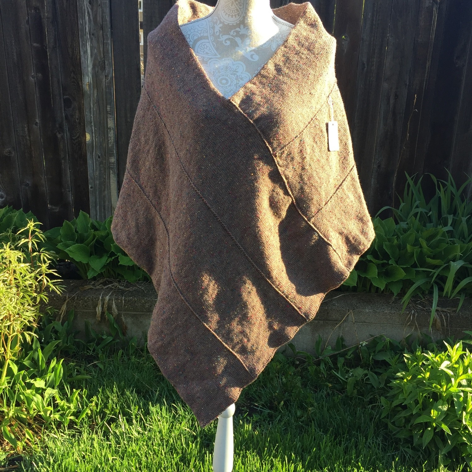 Brown Flecked Casual Poncho