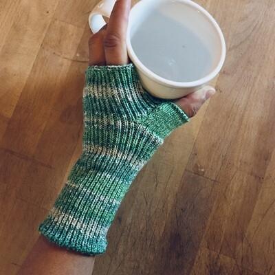 Lightweight Fingerless Mitts - Spring Green Sparkle - medium length