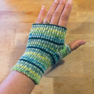 Lightweight Fingerless Mitts - Spring Green Stripes - short length