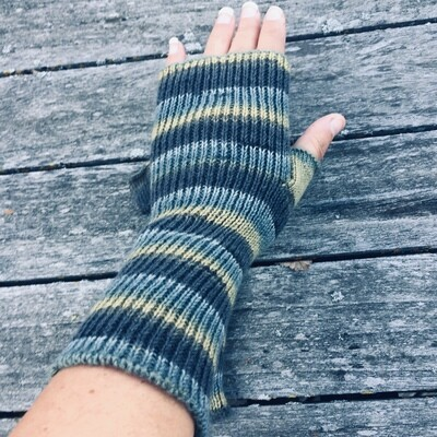 Lightweight Fingerless Mitts - Moss Stone - long length