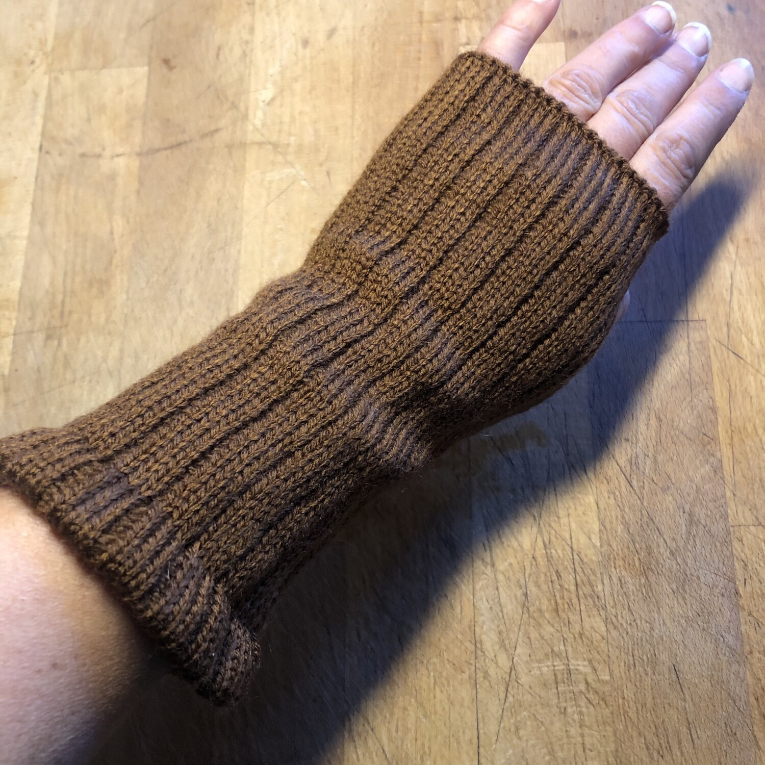 Fingerless Mitts - Solid Brown - medium length