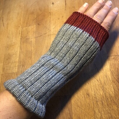 Fingerless Mitts - Solid Gray with Red - medium length