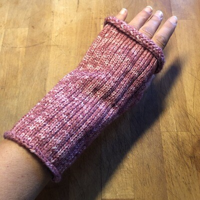 Fingerless Mitts - Variegated Pink - medium length