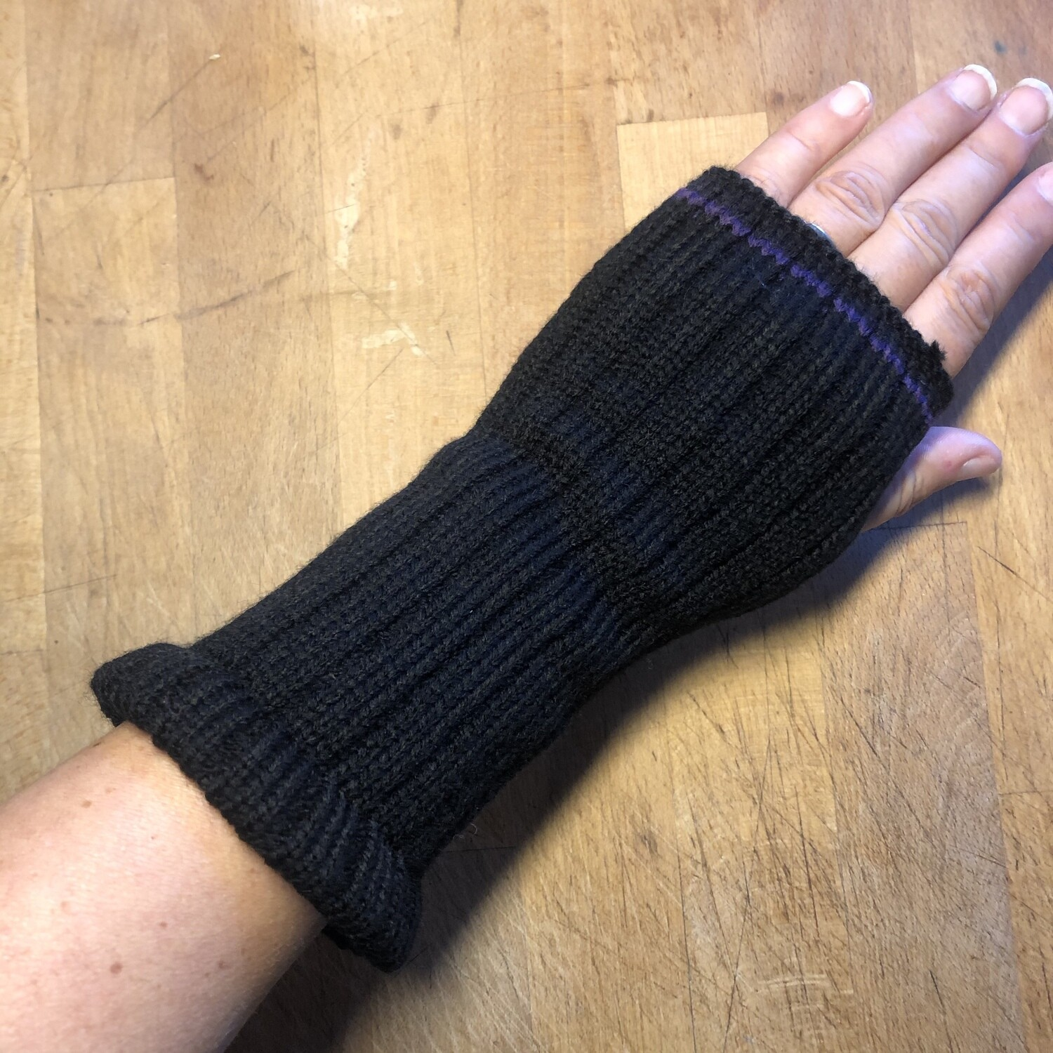 Fingerless Mitts - Solid Black with Purple Stripe - medium length - Go Vikings!