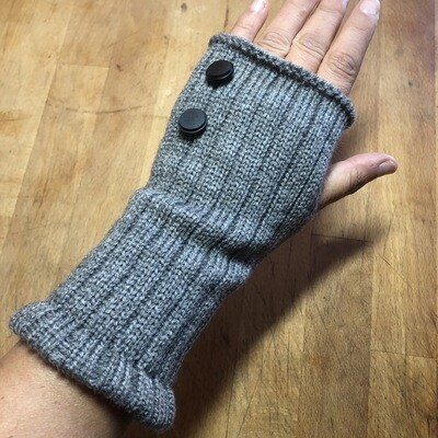 Fingerless Mitts - Solid Gray with Black Buttons - medium length