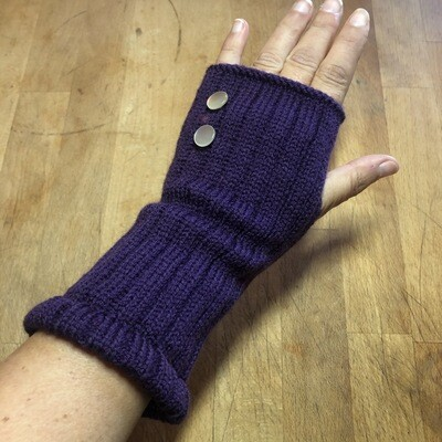 Fingerless Mitts - Solid Purple with White Pearl Buttons - medium length