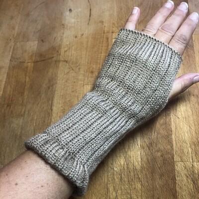 Fingerless Mitts - Solid Tan - medium length