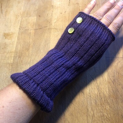 Fingerless Mitts - Solid Purple with Yellow Pearl Buttons - medium length - Go Vikings!