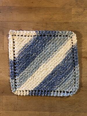 100% Cotton Blue Jean Washcloth - Hand Knit Classic Design