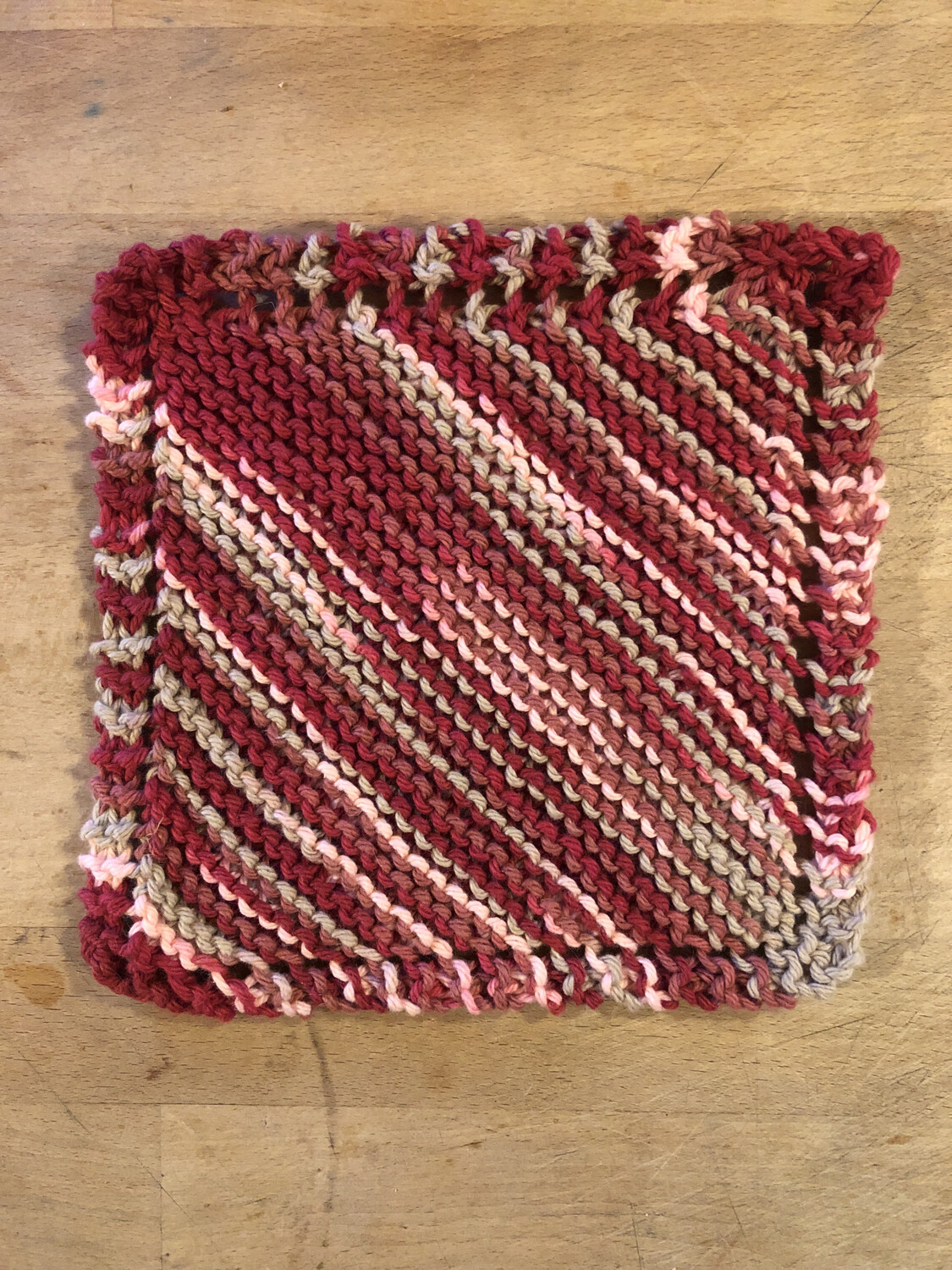 100% Cotton Brick Red, Pink, Tan Knit Washcloth - Classic Design