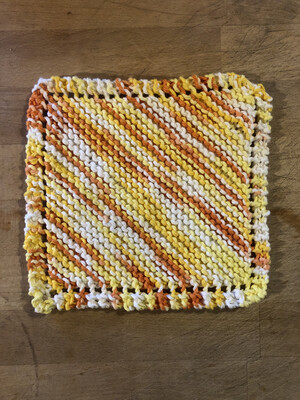 100% Cotton Orange & Gold Washcloth - Hand Knit Classic Design