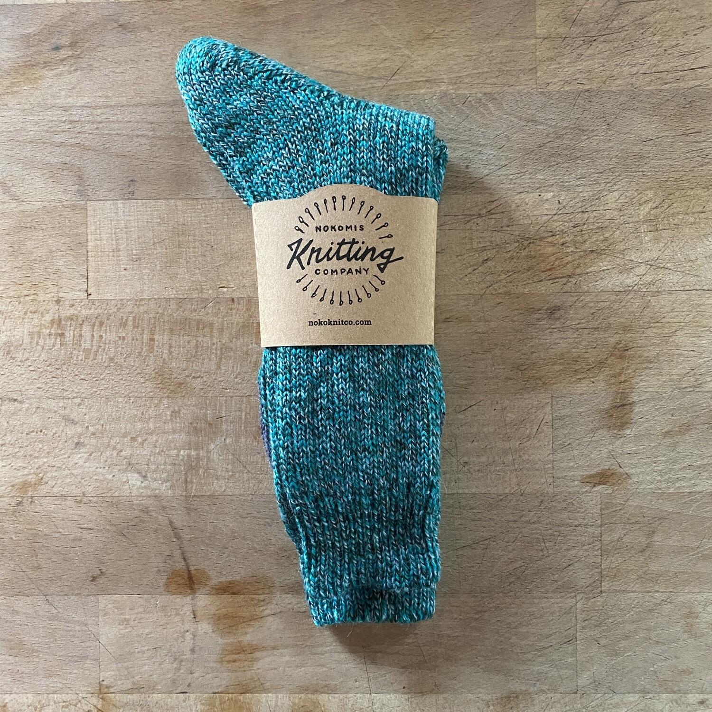 Woman's Crew Socks Size 10 to 11 - Grun Mouline Green Flecks
