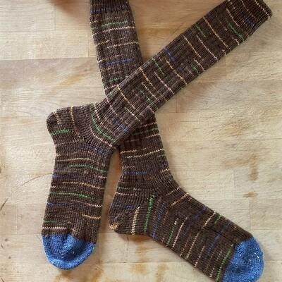 Woman's Tall Socks Size 8 to 9 - Brown with Tweed Toes