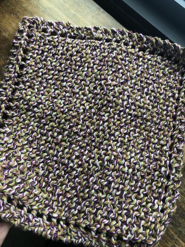 100% Cotton Mauve Lime Pink Washcloth - Hand Knit Classic Design