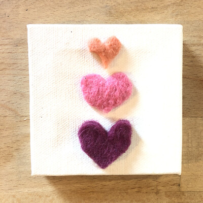 Yarn Art - Pink Hearts Stacked 3x3""
