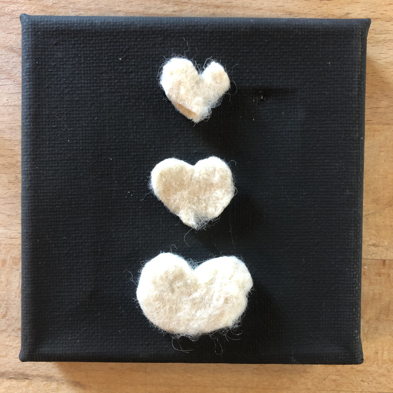 """Yarn Art - Ivory Hearts Stacked 3x3"""""""