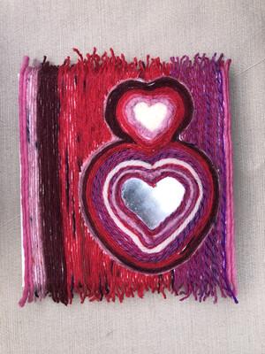 "I Heart You More - 5x5"" - Yarn Fiber Art"