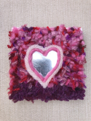 "I Heart You - 3x3"" Yarn Fiber Art"