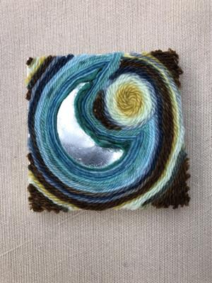 "Moon Rising- 3x3"" Yarn Fiber Art"