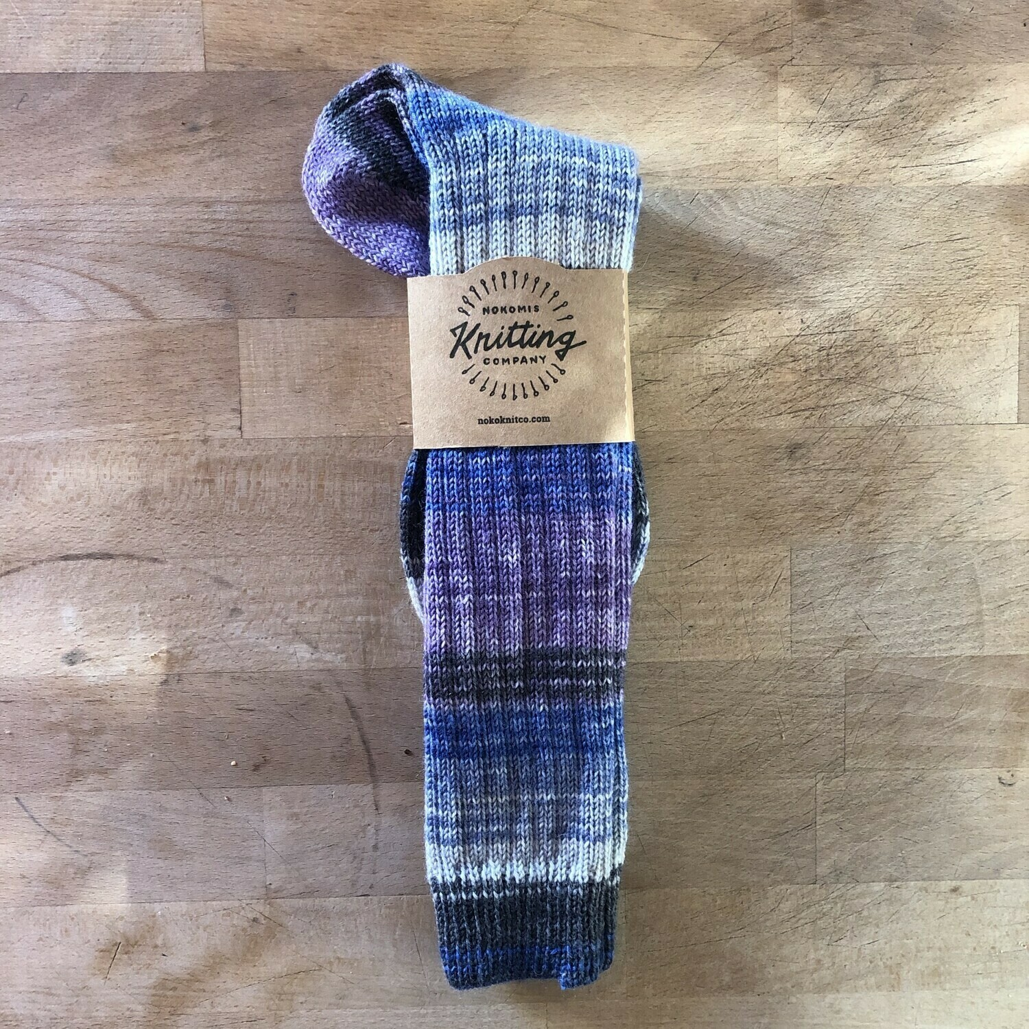 Woman's Tall Socks Size 6 to 7 - Frozen Purple Blue