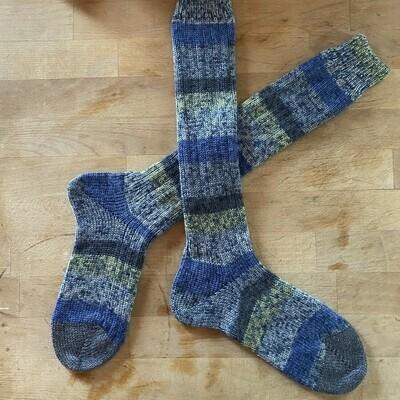 Woman's Tall Socks Size 6 to 7 - Spot River Blue Aqua