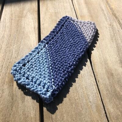 100% Cotton Washcloth - denim, rustic blue, tan - Hand Knit Classic Design