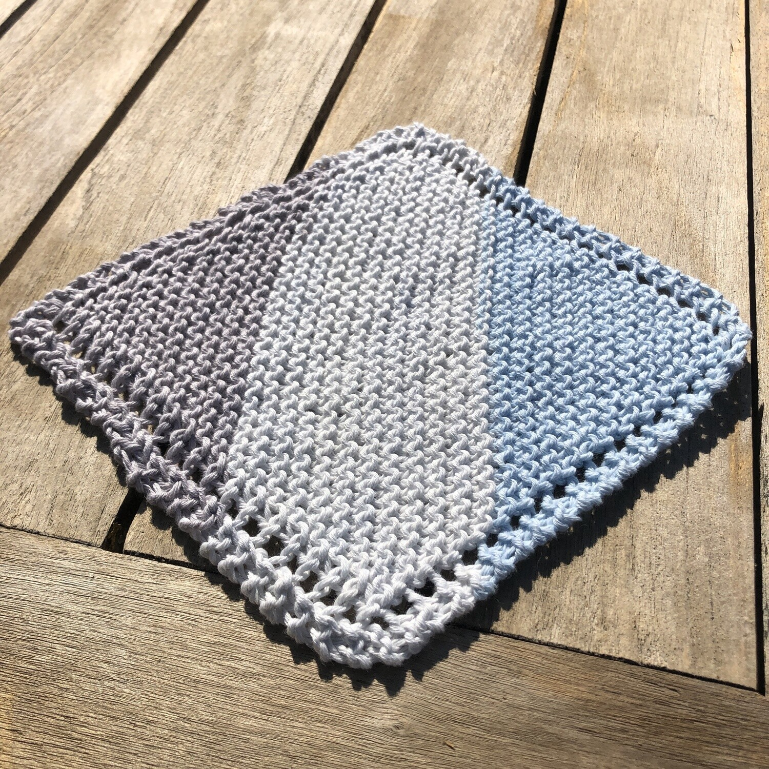 100% Cotton Washcloth - white, sky blue, tan - Hand Knit Classic Design