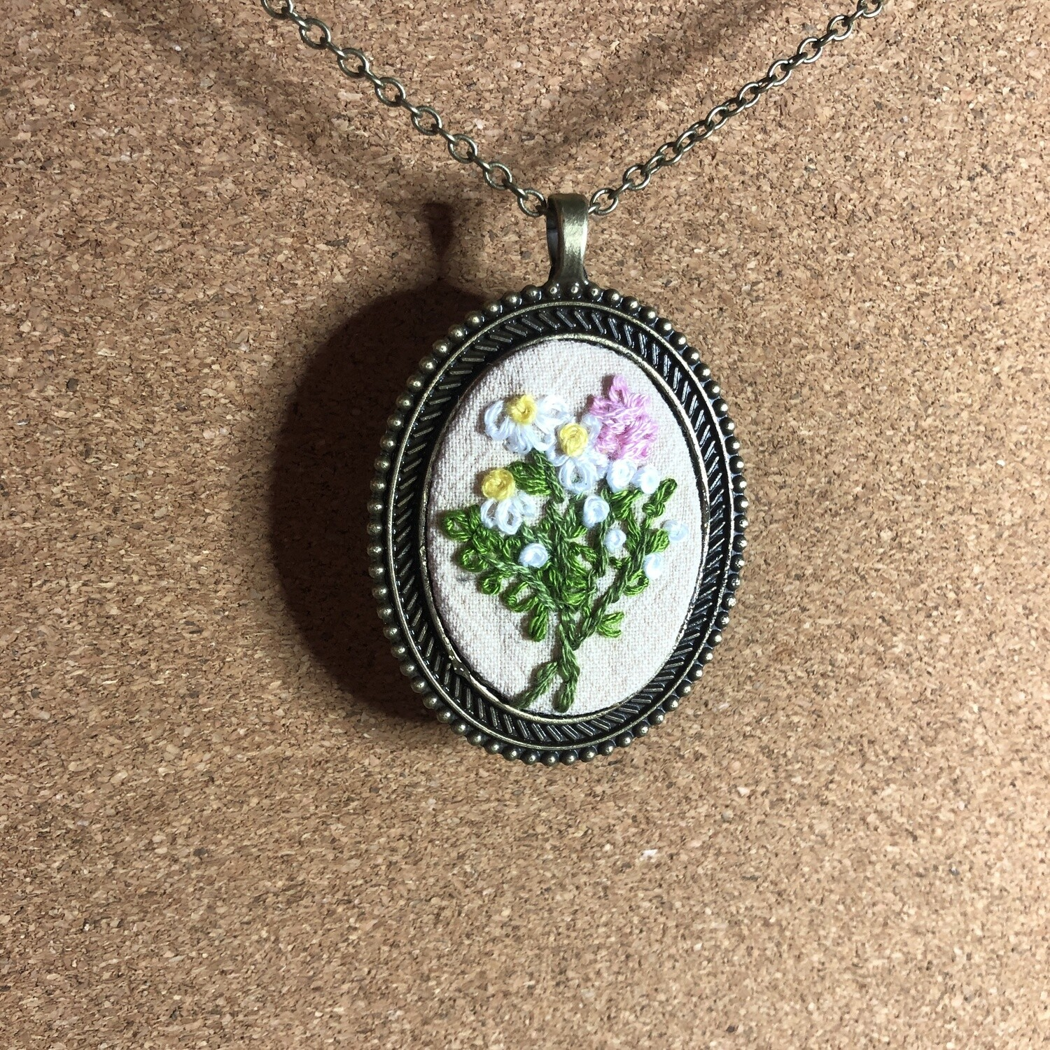 Spring Flower Necklace - Daisy Hyacinth Floral - Hand Embroidered Pendant