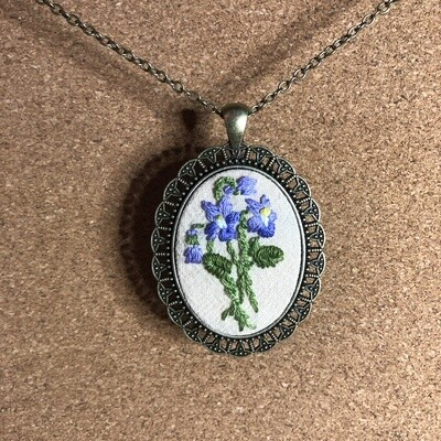 Purple Iris Embroidered Necklace - Spring Flowers Bouquet Pendant