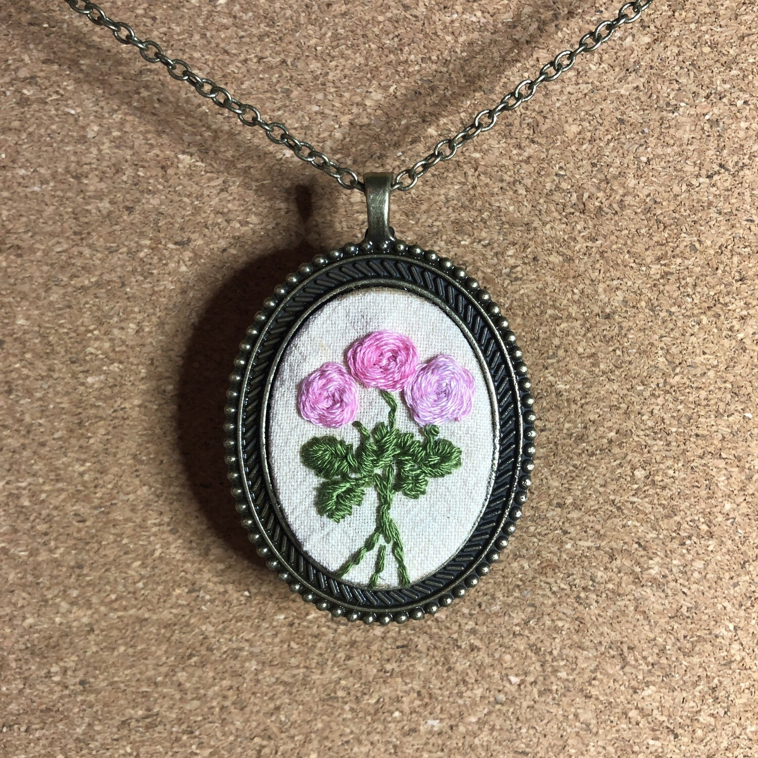 Rose Blossom Embroidered Necklace - Pink Spring Flowers Pendant