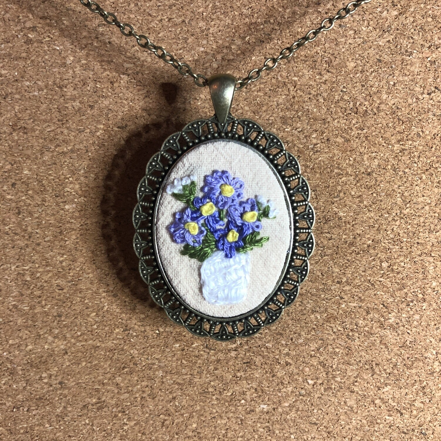 Purple Pansy Embroidered Necklace - Pansies Spring Flowers Pendant