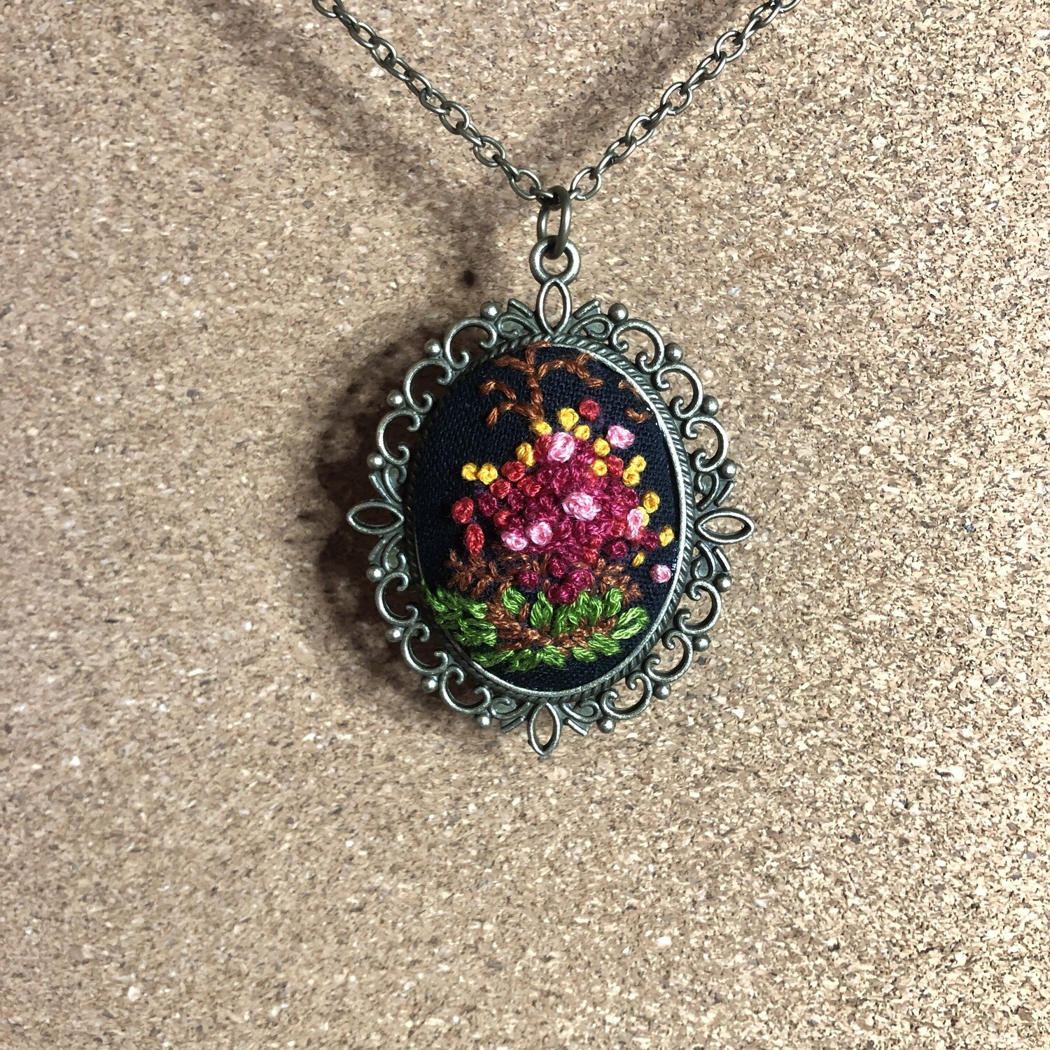 Flowering Bush Necklace - Blossom Flowers - Hand Embroidered Pendant