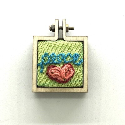 Love and Peace Squared - Embroidered Pendant or Magnet