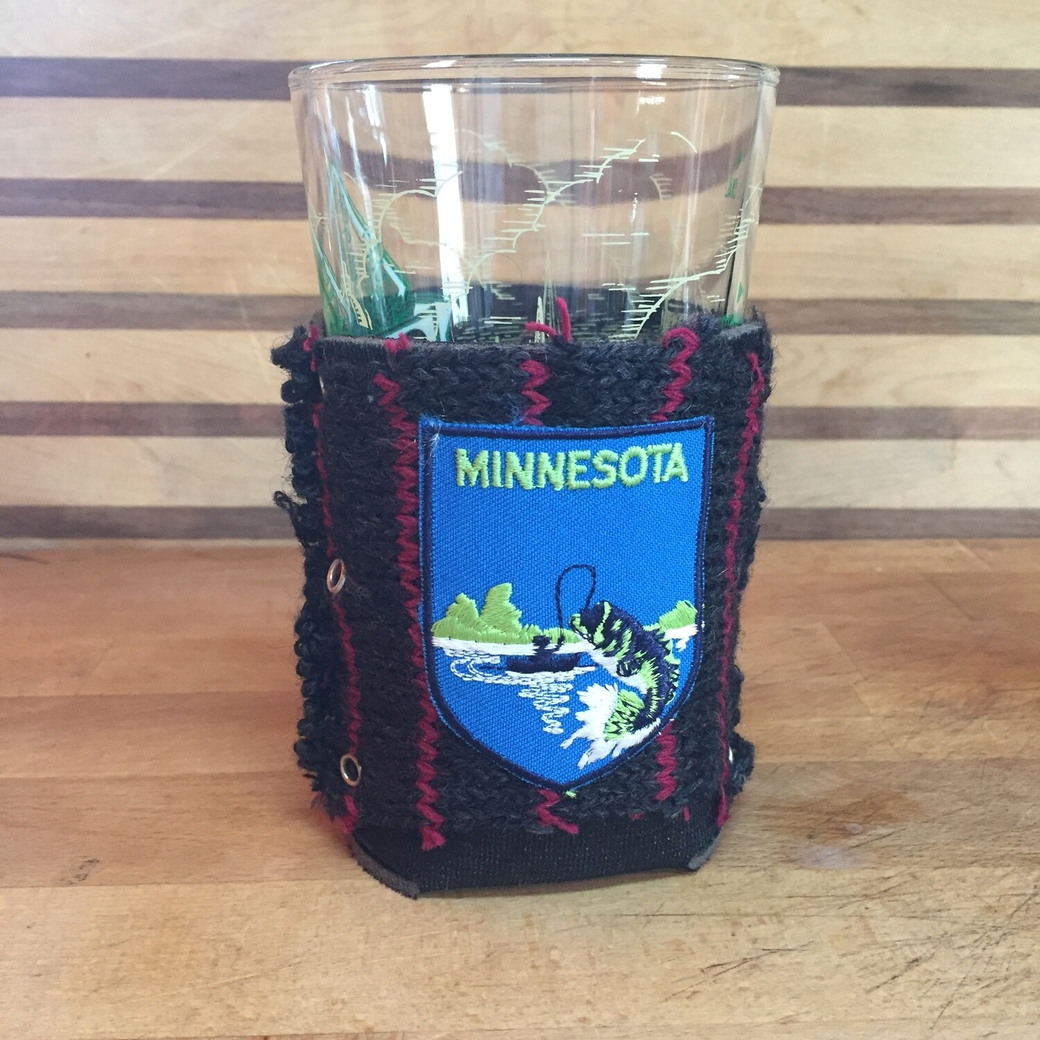 Vintage Minnesota Angler Patch Koozie - Can or Pint Coozie Holder