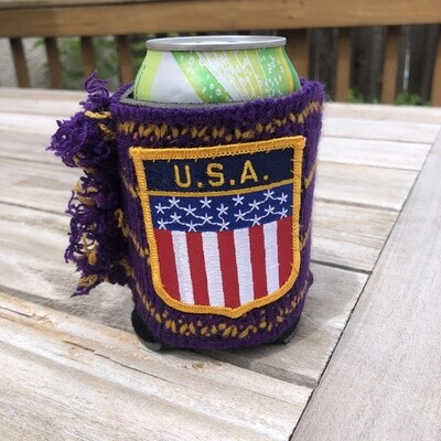 Koozie with USA Patch - Can or Pint Coozie Holder